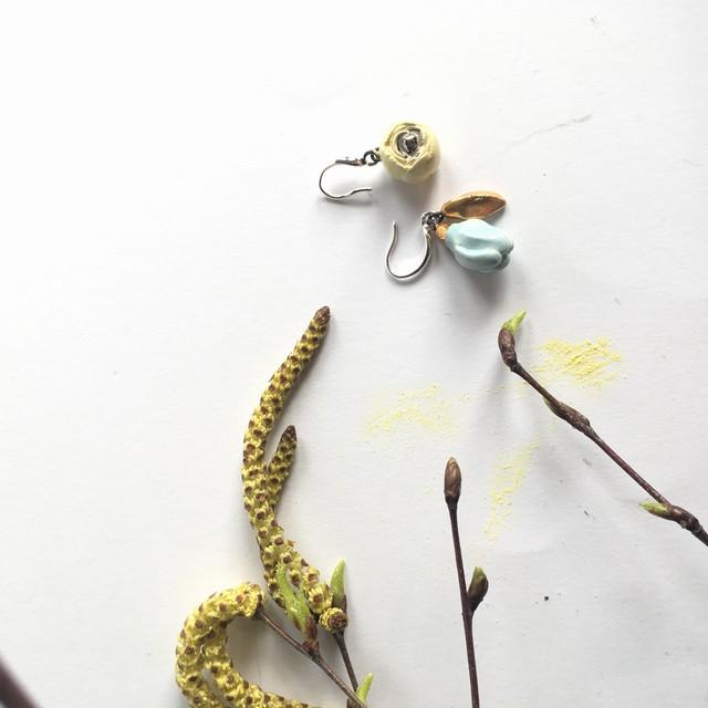 "Keramikos auskarai ""Magnolija ir rožė"""